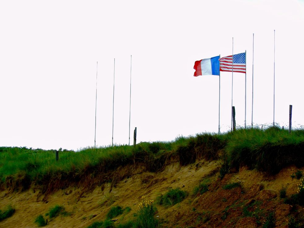 Standing proud together -- the French and U.S. flags