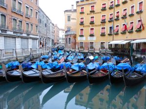 Gondolas nestle together in the cove of a canal in the early morning hours before the tourists arrive en masse.