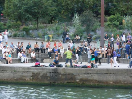 During the summer in Paris on the Left Bank of the Seine, free tango lessons for anyone with the nerve enough to give it a try.