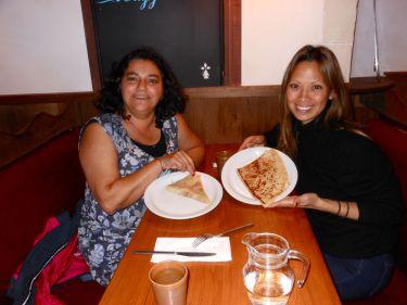 Cristina Duarte and I enjoy a midnight crêpe in Paris.