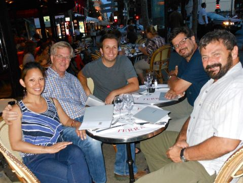 Rick, his TV crew (Dietrich, Peter and Simon) and I enjoy a well-deserved dinner at La Terrace after a very full day of filming.