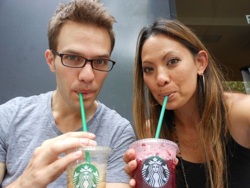 Enjoying my first Starbucks drink in Paris this summer after 6-weeks of withdrawal with my fellow UW alum, David La Boon.