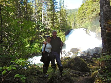 Rick and I enjoying the powerful rush, the raucous sounds, and the wispy mist of the thundering waterfall.