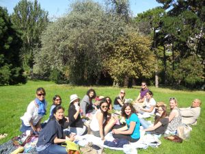 Picnicking in a Parisian park with classmates from the Sorbonne.
