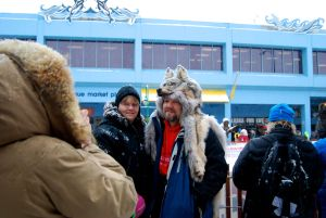 All dressed up for the Iditarod Ceremonial Start in Anchorage.