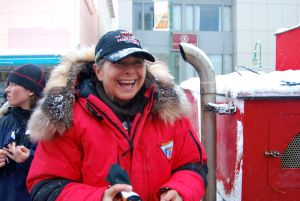 Excited yet at ease, Jan is ready to begin her first ever Iditarod competition.