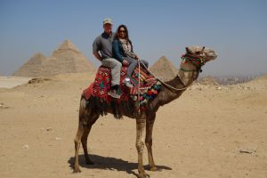 "Rick, ""Bob Marley"", and I strike a pose at the pyramids of Giza."
