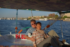 "Rick and I experience the Nile on the felucca ""Blue Sky""."