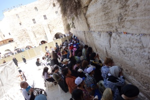 In the women's section of the Western Wall, faithful Jews pray, trying to be as close as they can to what once was the Temple of Solomon, which housed the Holy of Holies.