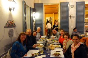 A convivial meal with new friends is the perfect way to way out a stormy evening in Varenna.