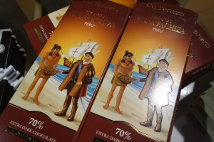 Chocolate from Peru in packaging that might not go over so well in The States.