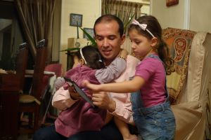 My friend from Cairo: Tarek with two of his beautiful daughters.