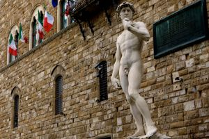 On the Piazza della Signoria, this copy of Michelangelo's David is a decent stand-in for the real thing--not quite perfect, but it's got potential.