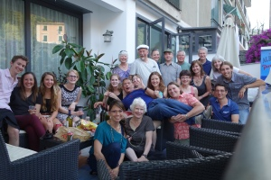 I don't know how we all fit on the patio of our hotel, but it sure was a memorable Happy Hour gathering.