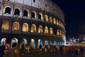 Getting this close to the Coliseum at night without the worry of being hit by a car...priceless.