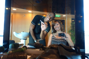 Sometimes a woman just needs to get her hair done.  Thankfully, the Emerald Princess has a well-equipped salon with a charming Brazilian hairdresser.