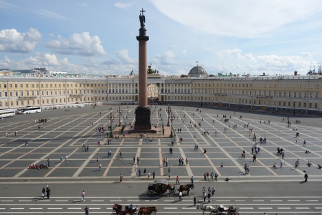 A majestic view from the Winter Palace onto Palace Square that would make and St. Petersburg citizen proud.