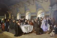 With this work, the Russian artists asks the viewers to ponder the hypocrisy of clergy who gorge themselves on wine and food and who claim to act in the name of Jesus yet ignore the hungry and needy.