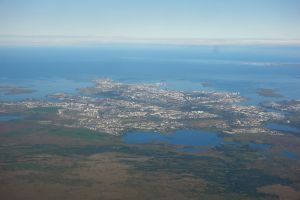 Flying into Keflavik Airport, we get amazing views onto Reykjavik, Iceland's capital.