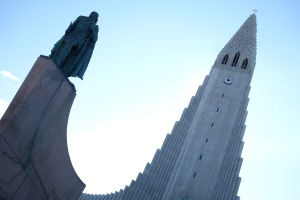 Leif Erickson stands proudly before the Hallgrimskirkja Lutheran Church.