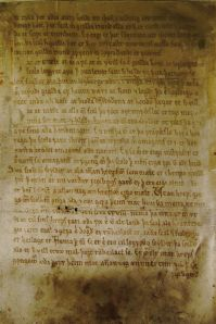 This early evidence of Icelandic written on vellum dates from 1250 and is part of the Gragas Law Code.  this section explains: All men are prescribed by law to provide for those who cannot feed or clothe themselves, supporting them of either their own means or labor.  Those who have no such support shall be conveyed to the commune in which their heir resides, if second cousin or closer.