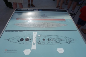 A diagram of the sunken vessel and the memorial that straddles but does not touch it.