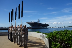 A color guard stands at the ready as they prepare for the 72nd anniversary of the attack on Pearl Harbor.