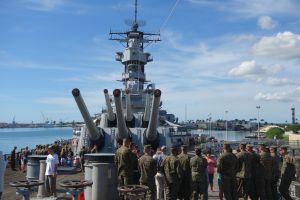 Marines visit the USS Missouri as tourists.
