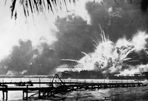 The USS Arizona burns after being hit by a torpedo. (AP photo, US Navy)