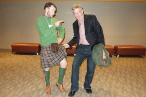Rick tries to sneak a peak under Colin's kilt.  Naughty, naughty.