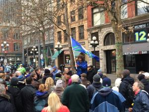 One of our Seattle-based guides, Ragen Van Sewell, rallies our guides to embrace the spirit of the 12th Man.