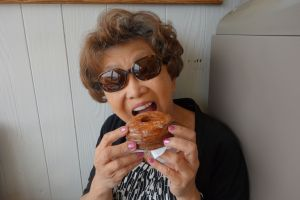 My mom before she bit into her glazed cronut lost her donut mind.