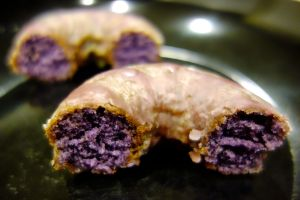Crispy on the outside, purply and moist on the inside, this ube donut is a winner.