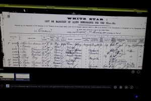 The manifest for the White Star and proof of Rick's great-grandfather entering the U.S. through Ellis Island.