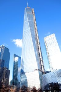 One World Trade Center rises high above the Manhattan skyline as the tallest skyscraper in the western hemisphere.