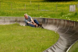 Rick is a real luge-lover and it shows on his happy face.