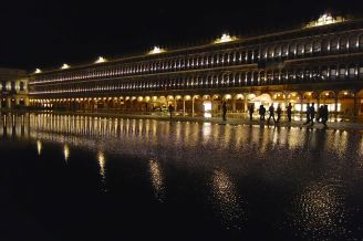 Lights, silhouettes, lines, curves, reflections all make for good subject matter when photographing Venice at night.