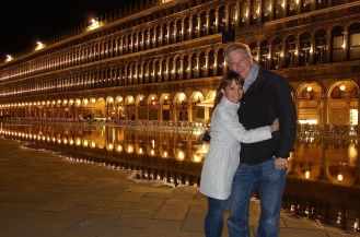 Enjoying a perfect night together in Venice.