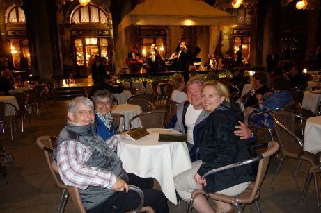 Our friends Pat, Roberta, Brian, and Denise enjoy the table-side music at Caffè Florian, the worlds oldest café (1720).