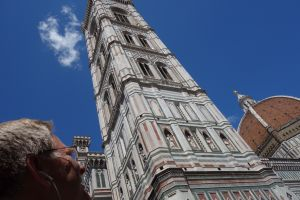 Rick takes a moment to appreciate the public gallery of sculptures tucked into Giotto's bell tower.