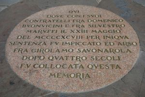 This medallion on the Piazza della Signoria marks where Dominican friar Savonarola was burned.