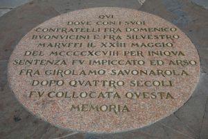 This medallion on the Piazza della Signoria marks where Dominican friar Savonarola was burned.