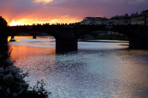 Sunset on the Arno River in Florence.
