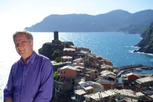 Rick films a spot for AARP against the perfect Vernazza backdrop.
