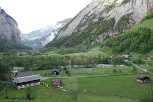 Our grand reward after a steep downhill hike: a lovely view of the Lauterbrunnen Valley.