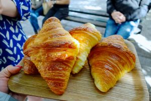 "Go for a ""straight"" croissant if you want yours made with butter instead of margarine."