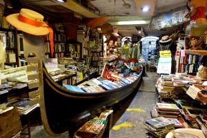 Boatfuls of book abound at the Acqua Alta Bookstore.