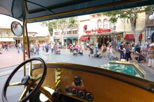 Riding the omnibus from Town Square to the Hub is relaxing and a fun way to see the park.