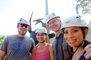 Andy, Jackie, Rick, and I (and a pterodactyl) are ready for our Puerto Rico zipline adventure.