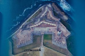 Aerial view of El Morro, one of the oldest forts in the western hemisphere.